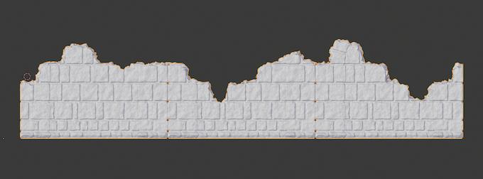3 solid walls made into horizontal ruins