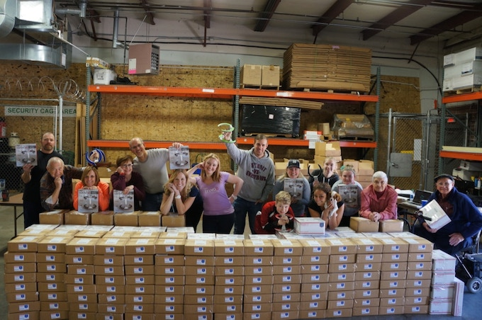 At our warehouse in the midwest happily packing up Trivaes! All hands on deck...ages 7-90 represented :)