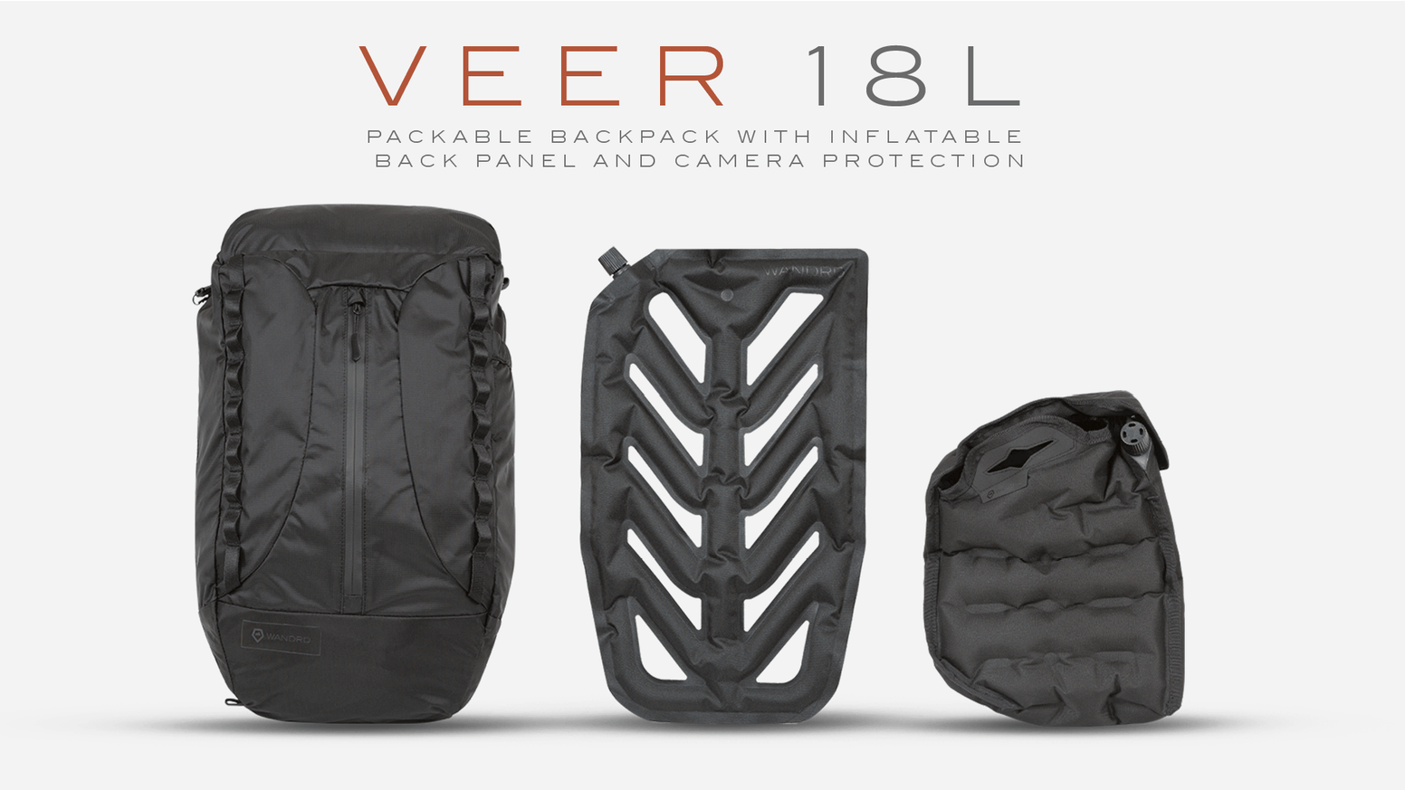 For photographers or travelers — The first packable backpack with inflatable back panel and inflatable camera protection.