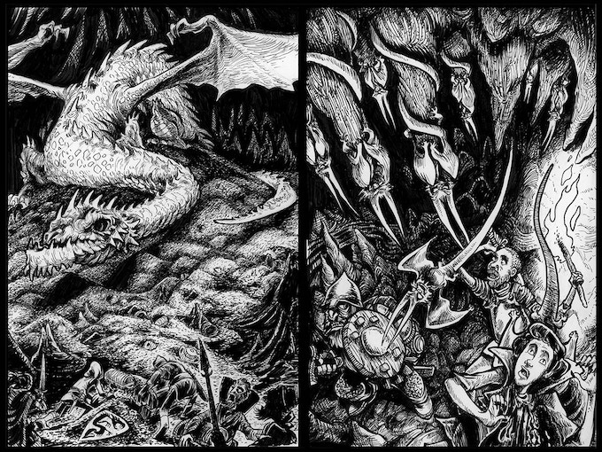 A couple of scenes from the adventure: Woetalon and the Batragons.