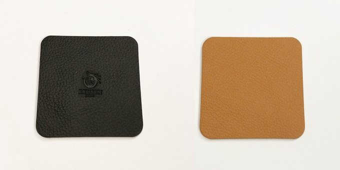 (Material: leather; side A - black with logo; side B - cognac)