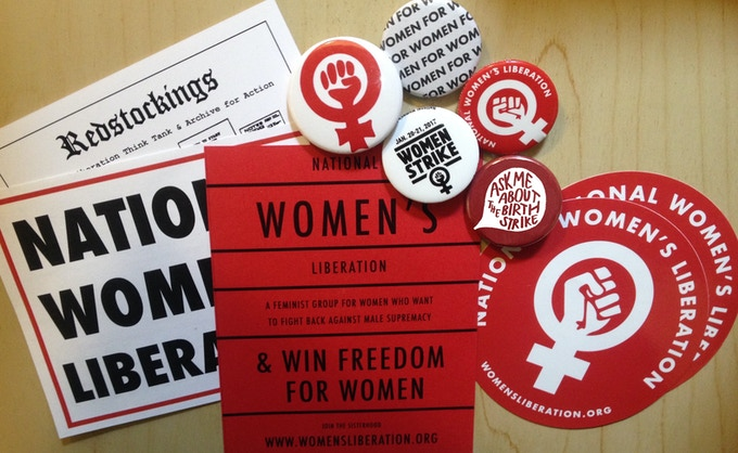 A sampling of the Radical Feminist Button & Sticker Pack