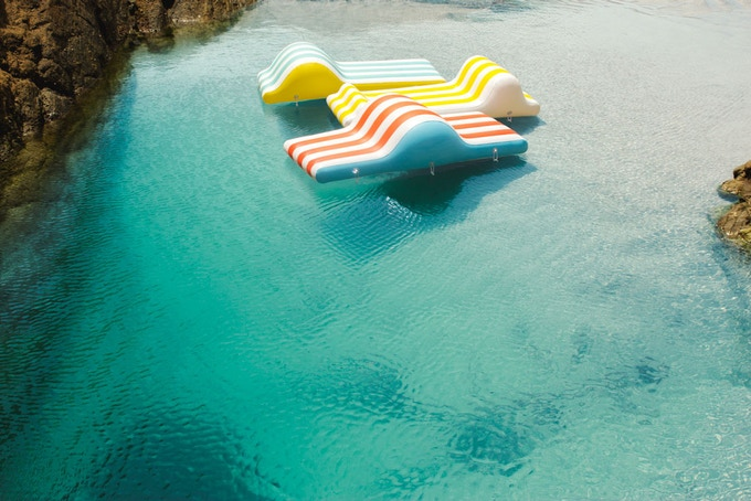 CHAT inflatables floating in the sea