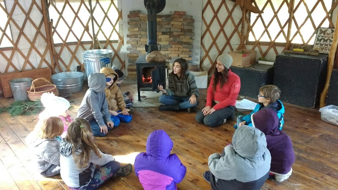 Inside the yurt of White Pine Wilderness Academy, where I am also a Forest School teacher.  Come to a magical listening party on 4/27, and dance party on 6/8!