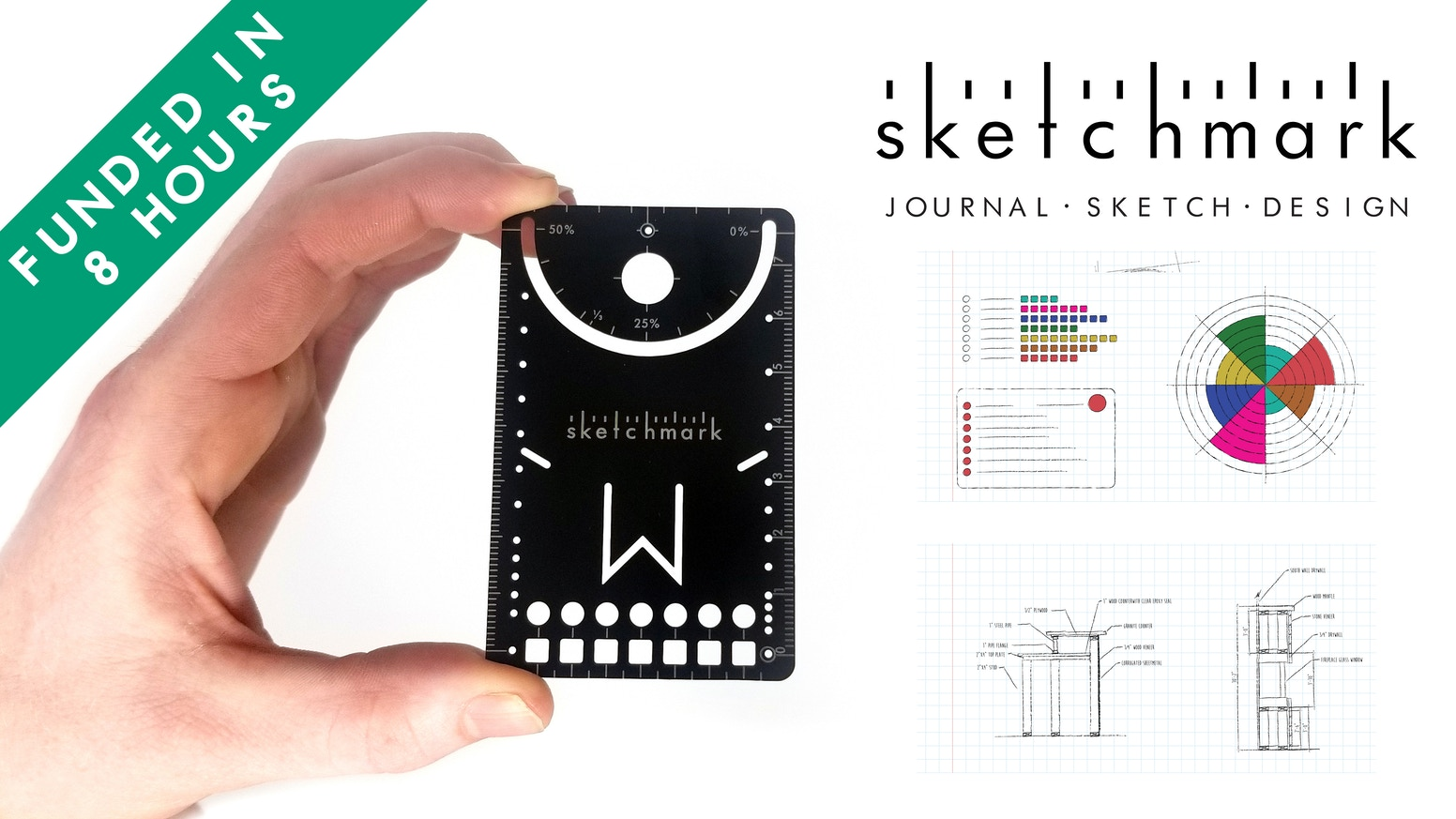 A pocket-size tool for journaling, sketching and designing with a built-in bookmark.