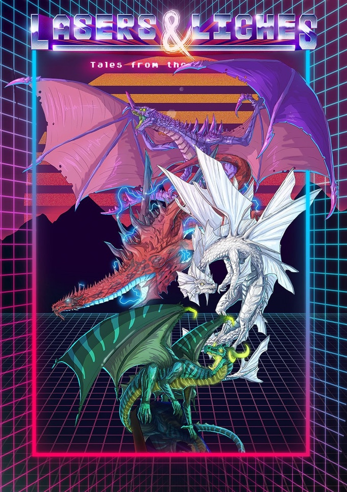 The dice are based on the Tesla Dragon, seen here with the Laser, Xenon, and Neon dragons.