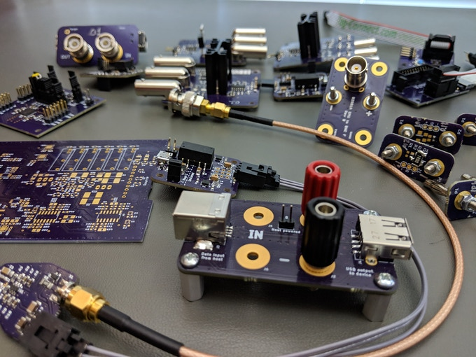 Some custom test boards that supported Joulescope development