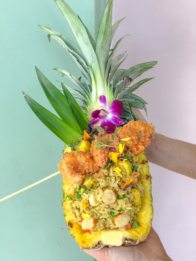 Our Thai pineapple fried rice boat