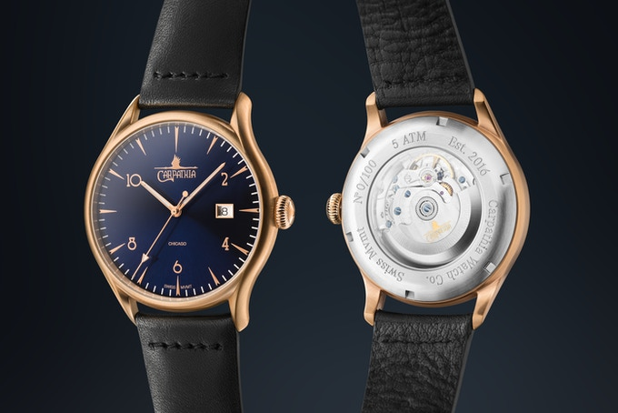 Brushed rose gold with navy blue sunburst dial