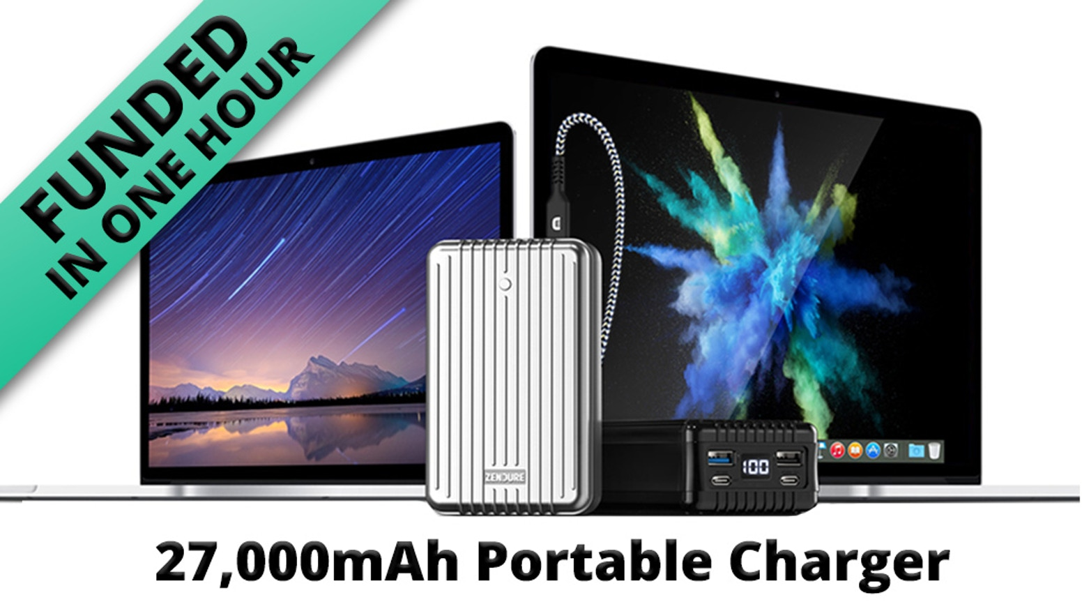 27,000 mAh portable charger with dual USB-C PD (100W + 60W) & dual USB-A ports, quickly charge MacBook Pros & other compatible devices