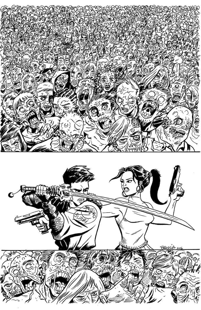 Original Artwork of the Kickstarter Edition Cover to Zombie-Sama by John Broglia