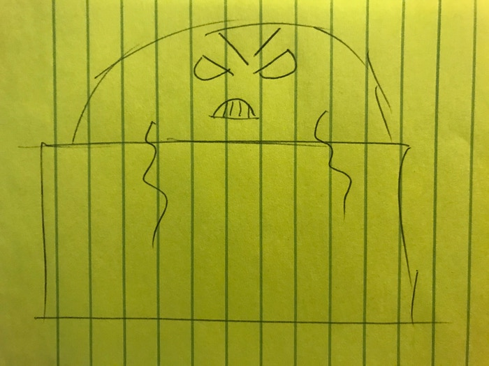 """Cody's concept of the first boss of the game. Luckily Laura Lee added the eyebrows to make it more """"menacing"""""""