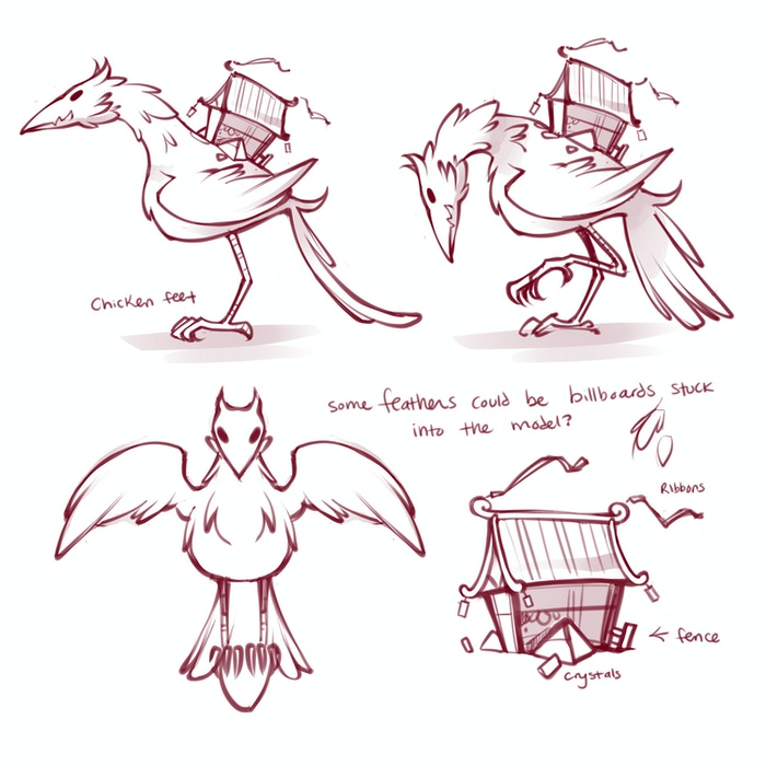 Turnarounds of the Village Bird. Our 3D Team uses these sketches to create their models.