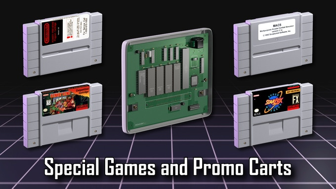 A section will spotlight special games and promo carts on the SNES.