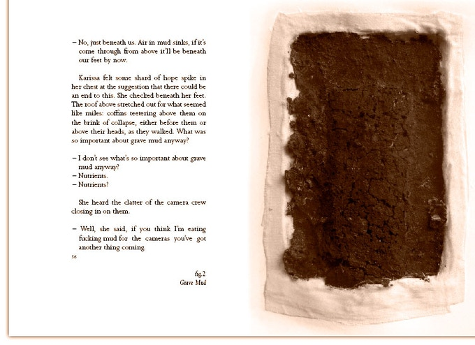 Spread from Mud showing one of eight sculptures illustrating the text. Grave Mud (sculpture), grave mud, muslin and cotton paper