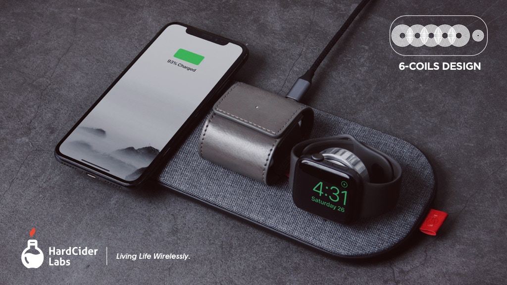 SliceCharge Pro: World's 1st 6-coils Wireless Charging Mat