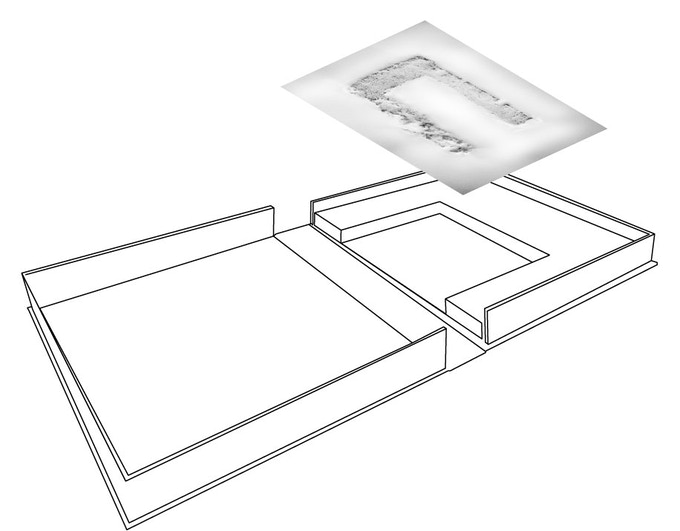 Drawing of Solander Box. The Hardback book is recessed in the tray, while the sculpture sit on top.