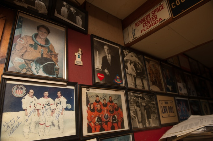 Walls full of vintage prints, signed by the astronauts...
