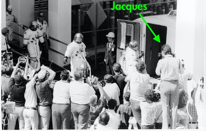 Jacques on a ladder to get a high angle shot over the crowd as the Apollo 16 crew head to the launchpad...