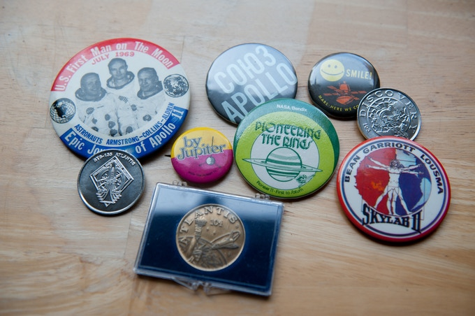 Thousands of old pins, patches, stickers, collectibles of all sorts...