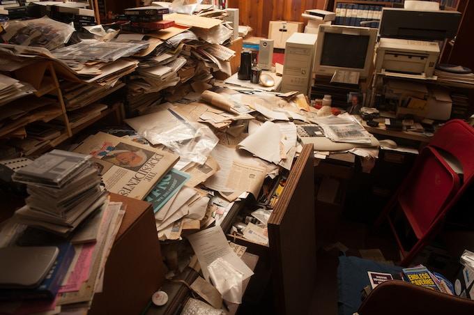 Jacques' basement desk as he left it...