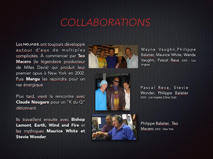 Nojazz  with  Wayne and Wanda Vaughn , Maurice White , Stevie Wonder and Teo Macero ( Miles Davis producer ).