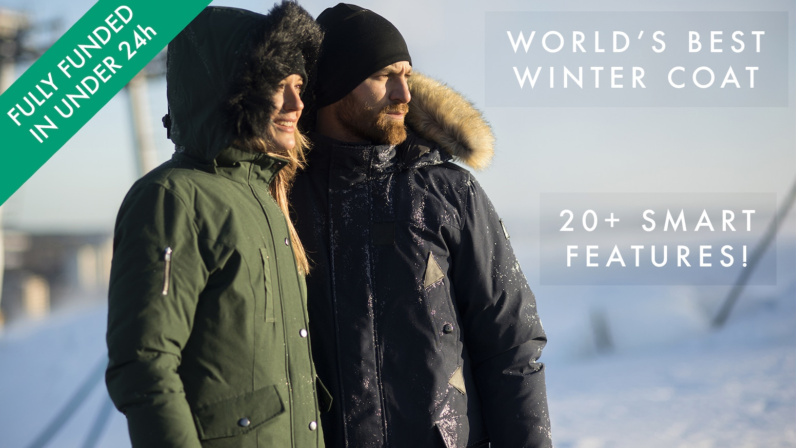 The first winter coat with 20+ built in smart features: Wi-Fi, Powerbank, Gloves and much more!