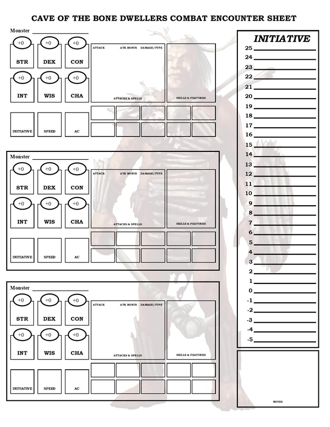 Combat Encounter Sheets for the Cave of the Bone Dweller Adventure