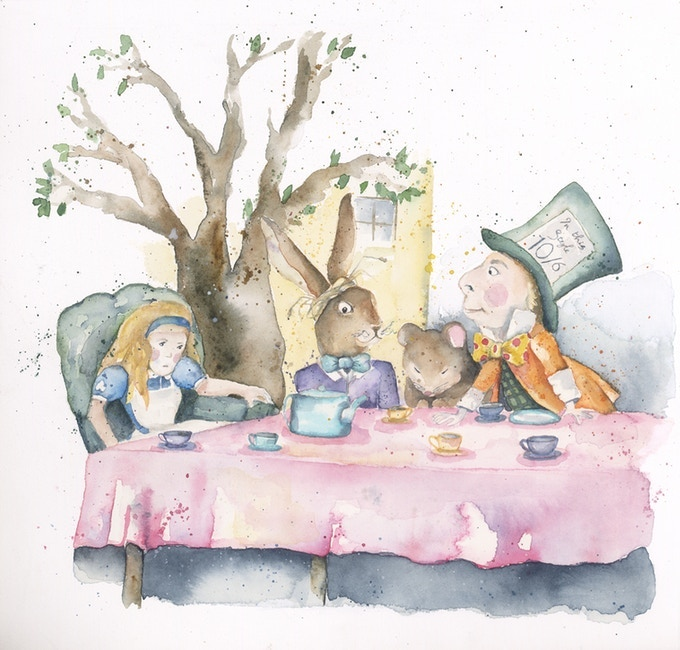 Stephanie Cowley's Alice in Wonderland 'The Tea Party' illustration