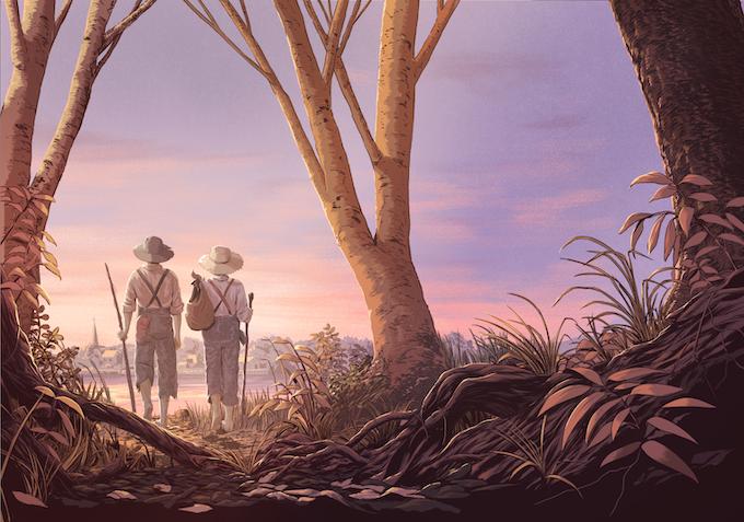 Guy Shield's Tom Sawyer & Huckleberry Finn frontispiece illustration