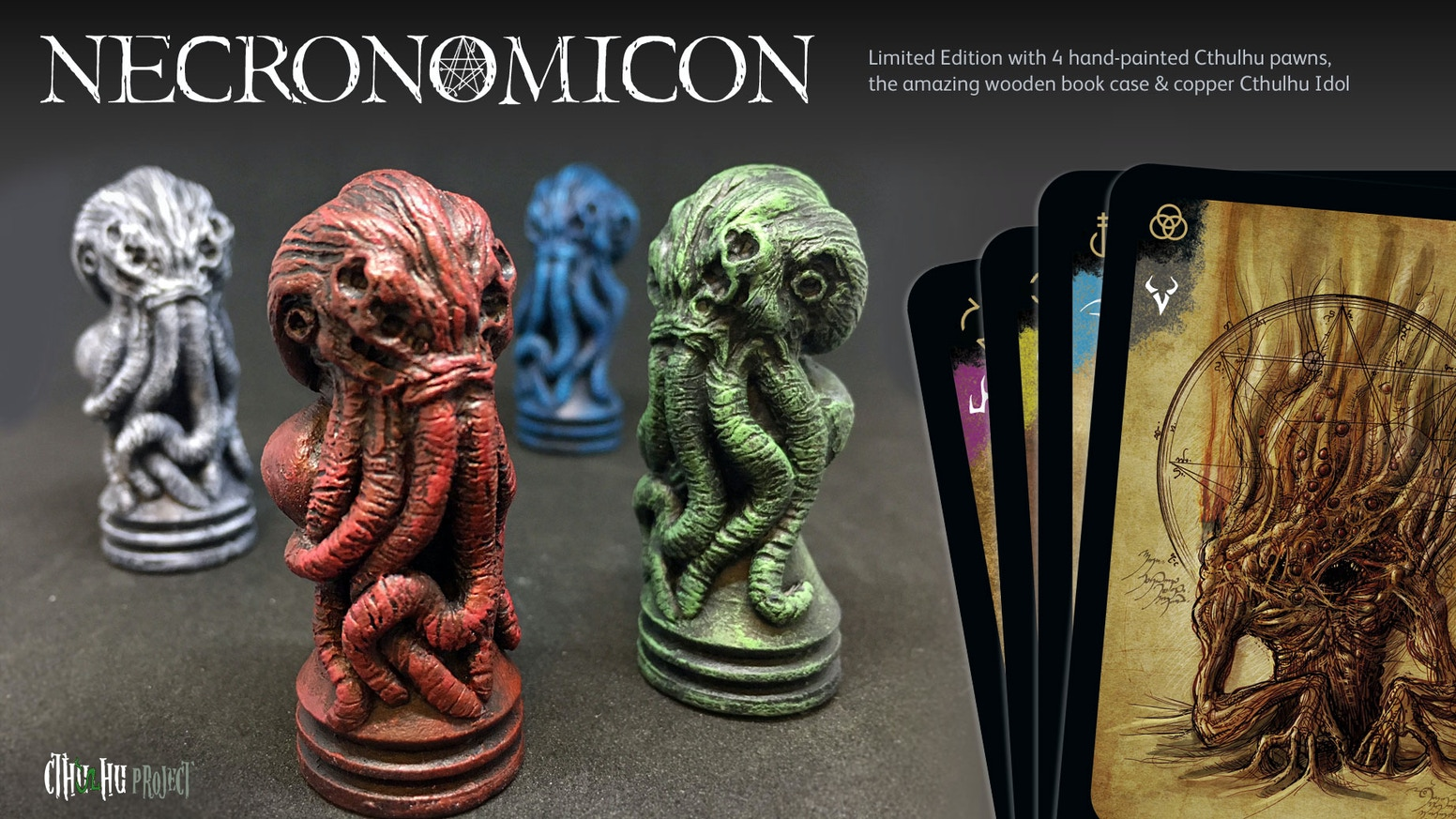 Can you complete the Necronomicon without losing all your sanity? A tribute to Lovecraft with Cthulhu pawns and Nec. wooden book-case.