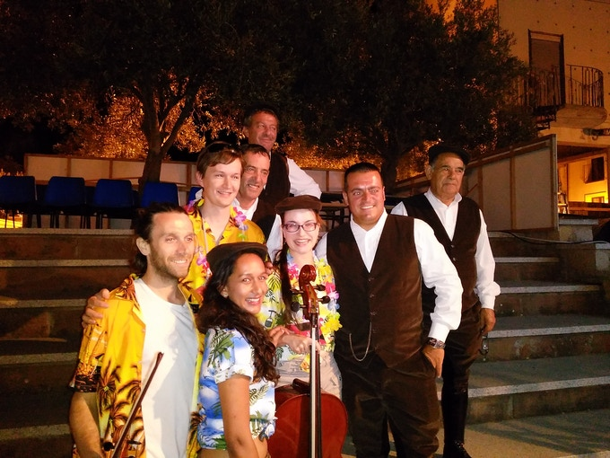 In Sardinia with the Tenores di Bitti after a show both groups were in