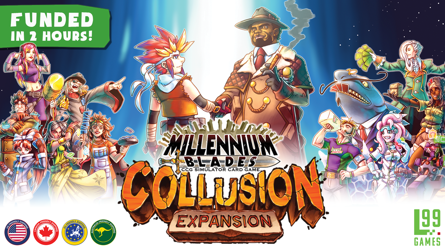 A final expansion + storage solution to wrap up the Millennium Blades Epic! Over 400 new cards, 6 characters, team mode, & more!