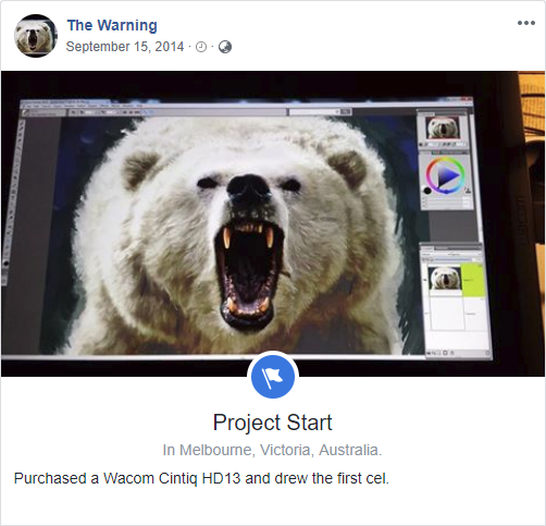 'The Warning' Facebook timeline 'project start'