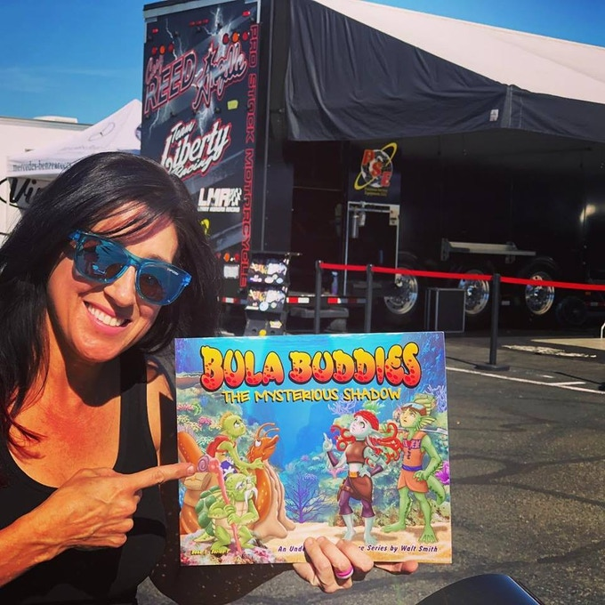 """""""I just love this book. I got this signed copy for my daughter Ava Jane when I met Walt at the Las Vegas Motor Speedway. I love how the characters are working together to save their reef and kids have so much to learn from this beautiful book."""" Angelle Sampey 3X World AHRA Champion  Winningest female in motorsport history"""