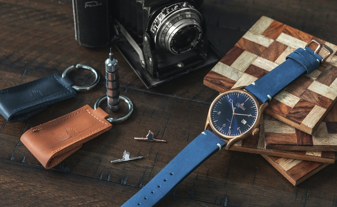 Changing tools, stork pins and Ascent rose gold on indigo suede strap