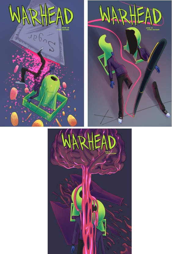 The cover art for WARHEAD Issues #8, #9, and #10
