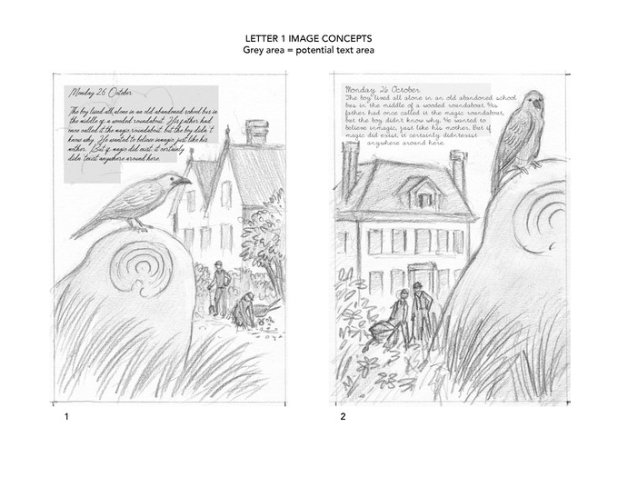 The initial concept sketches by Rebecca Solow.