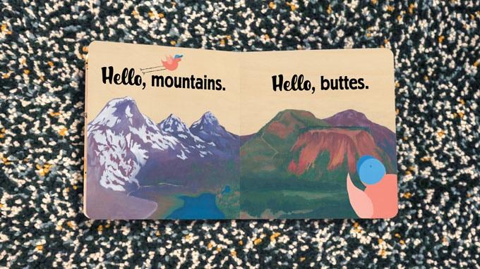 """""""Hello, mountains. Hello, buttes."""" Book Spread"""