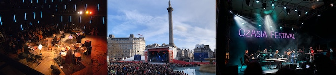 Live performances at Conservatory of Amsterdam (left), Trafalgar Square, London (middle) and OzAsia Festival, Adelaide (right)
