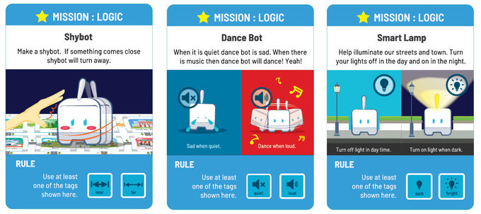 Logic Mission: Follow the instructions and turn Mojobot into a smart robot! You must use at least one of the specified coding tags.