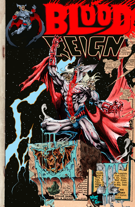 2400 STRETCH GOAL. BLOOD REIGN #0! black, white and RED gore edition. This story takes place before the events of Blood Reign #1. Retro Gory action. Cover may differ from this version.