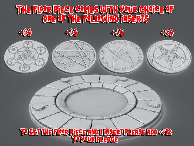 This is the final 3-d design of the floor piece and the 4 available center inserts. Your +$12 ADD-ON will get you the Floor Piece and 1 choice of the available inserts!