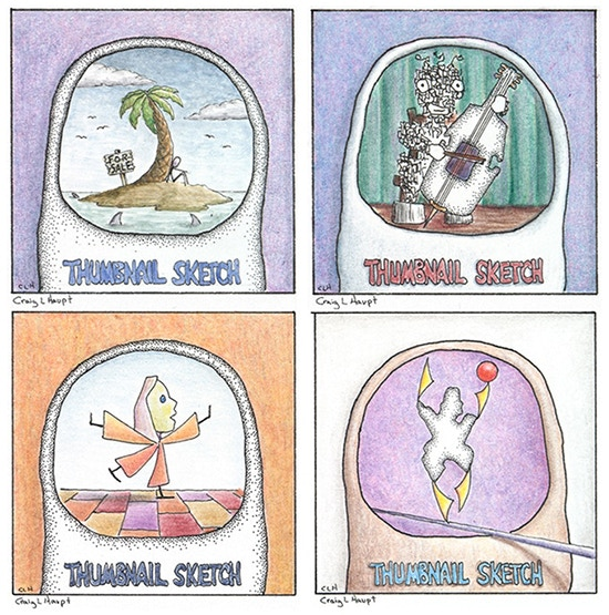 Thumbnail Sketches, watercolor, pen & ink, color pencil, 4 of 23