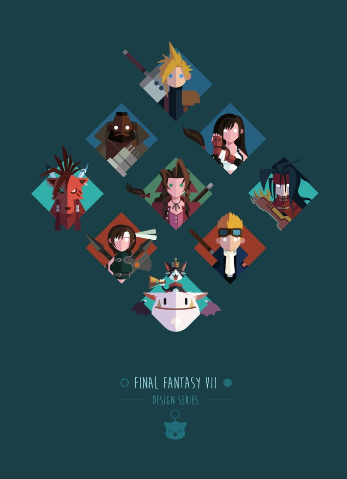 Original Final Fantasy VII design series poster