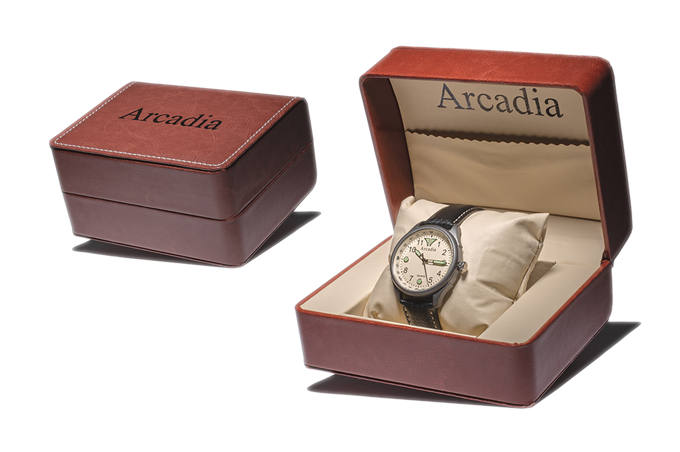 Embossed Arcadia Stitched Leather Case