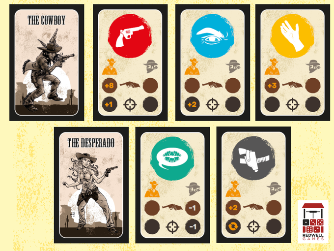 The two character decks and card types in Six Gun Showdown:Single Shot. Draw (red) Focus (blue), Reach (yellow), Distract (green) and Flinch (grey))