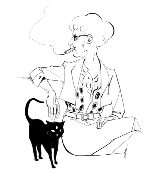 Fashionable cat lady with her psychic advisor, Buttons