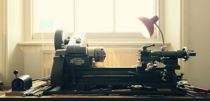 Nicholas' grandfather's lathe on which he makes all his pencils