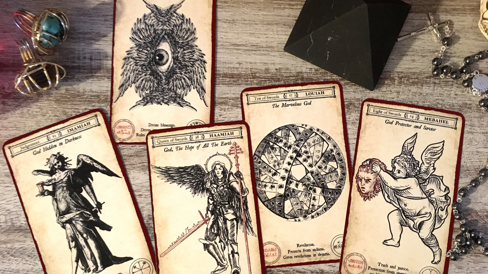 A complete Tarot deck evoking the 72 Angels of the Kabbalah and 6 awe-inspiring Archangels.